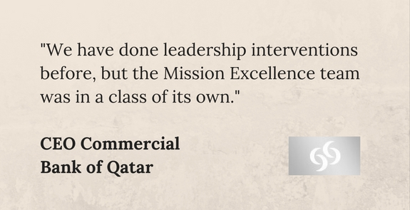 Bank of Qatar testimonial for the High Performance Organisation programme