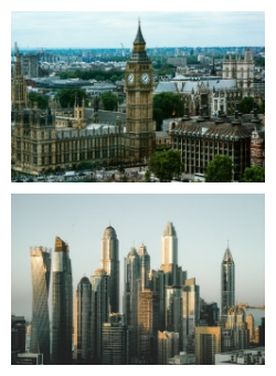 London and Dubai cityscape