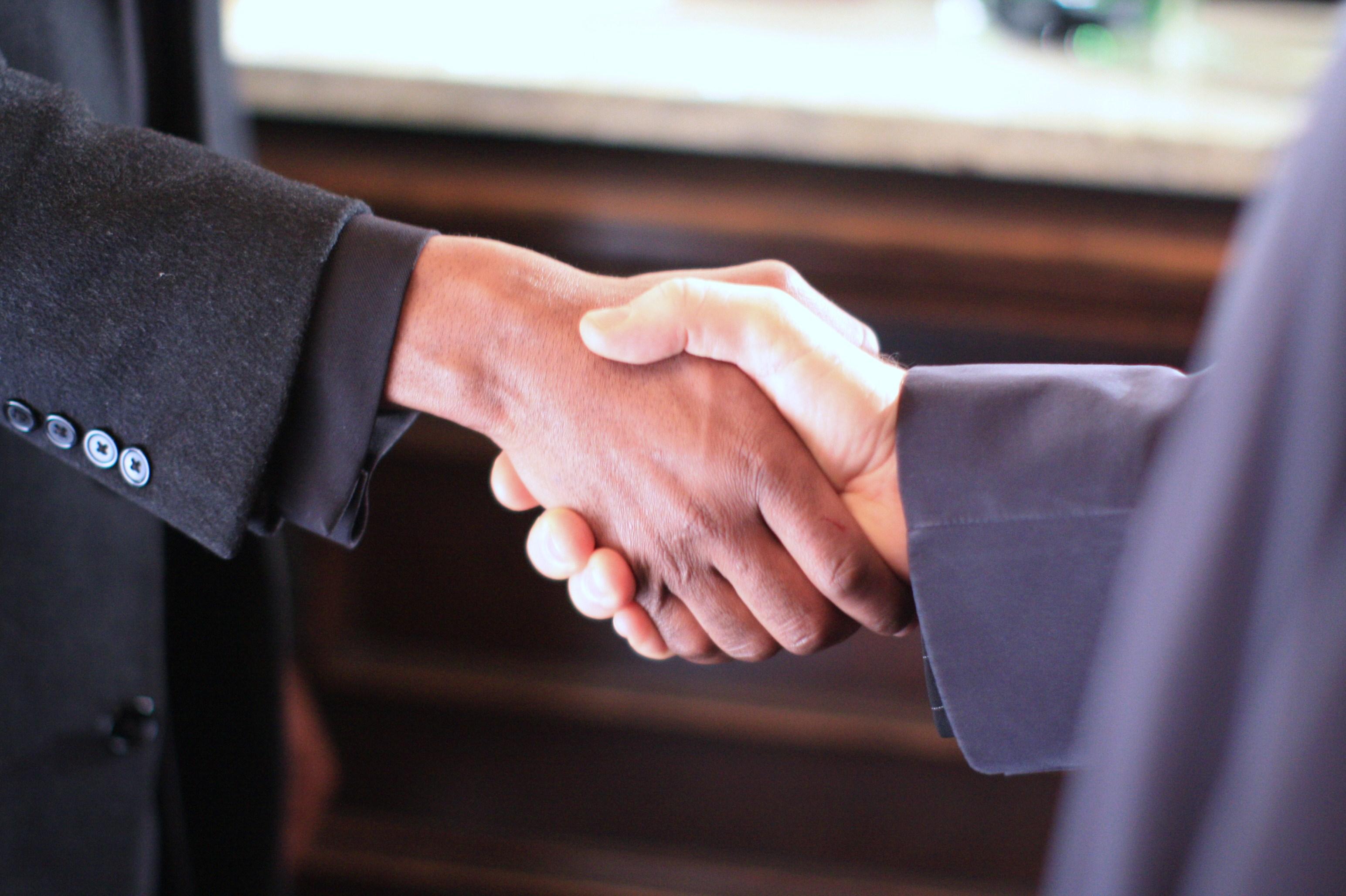 Men handshaking in the High Performance Team Programme